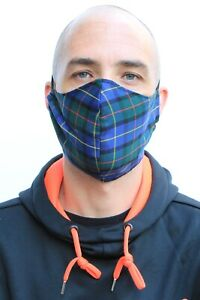 Blue Plaid Tartan Mens Large Fitted Face Mask Bandana Face Covering Quality UK B