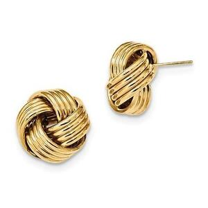 14k Solid Yellow Gold Love Knot Cable Design Style Stud Post Earrings Gift