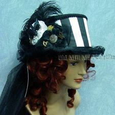 Steampunk riding top hat black white Victorian style 14003BN