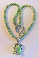 Marked 925 Sterling Silver NecklaceJade Pendant & Jade & Sterling Beads REDUCED