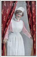 Rosy Cheeked Nurse Birth Announcement Vintage 1910 Postcard