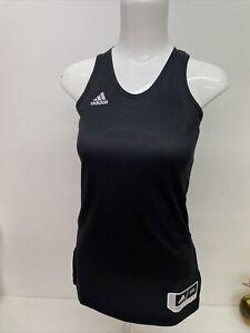 Adidas Size XS Vest Top Ladies Black Gym Activewear Tank Three Stripes - A89