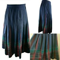 Pendleton Vintage Women Skirt High Waist Navy Check Tartan Print Virgin Wool 8