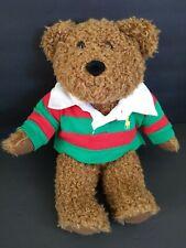 "Ralph Lauren Polo Teddy Bear Red Green Rugby Shirt Plush Stuffed Animal 2005 10"""