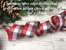 Fil Edge Noël ruban 63 mm Rouge Sparkle Glitter Carreaux Satin Nouveau