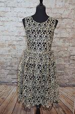 Modcloth Coastal Hostess Dress NWT Sz M Black Gold Metallic Lace swirls