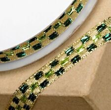 NEW GOLD & GREEN LUREX CHECKED PATTERNED RIBBON 10mm x 10M craft gift wrap