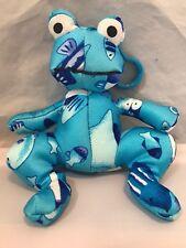 Vintage Vtg Super Smooshies Mini Keychain Plush Blue Frog