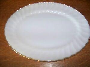"FIRE KING milkglass gold trim antique swirl scallop edge 13x10"" large platter GC"