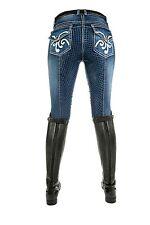 Damen Reithose Pasadena Summer Denim Silikon-Vollbesatz HKM jeansblau NEU