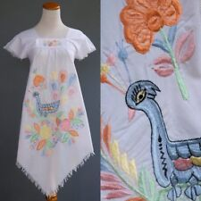 VTG Nicaragua Tunic Dress White Cotton Elaborate Bird Floral Hand Embroidery XS