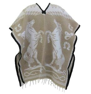Mexican Poncho Cobija Blanket Gaban Horses Design