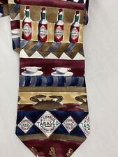 "TABASCO Made in USA 100% SILK Necktie Multi Color Shrimp Crab Seafood 60"" x 4"""