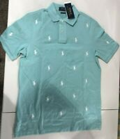 Men's SZ M Ralph Lauren Classic Fit All over Pony LOGO Polo Shirt Mint Green
