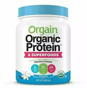 Orgain - Organic Vegan, Plant Based Protein & Superfoods Powder 1lb Vanilla Bean