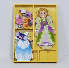 Melissa & Doug Magnetic Dress-up Princess Wood Doll Stand 7 Outfits Complete EUC