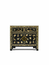 Premium Ming Dynasty Black and Gold Leaf Painted Medium Sideboard Asian Style