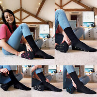 Ladies 5 Pack Black Cotton Socks with Patterned Sole Hearts Bows and Dots 4-7