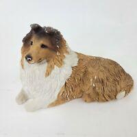 "Sheltie Sable Dog Figurine 10"" Sandicast by Sandra Brue Collectible Sculpture"