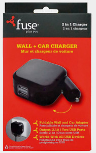 FoneGear 7755 FUSE WALL & CAR CHARGER Two USB 2 In 1 Charger Foldable 2.1 Amps