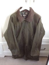 Lakeman Waxed Cotton Coat Olive Green Plaid Lining Wax Farm Country Hunting XL