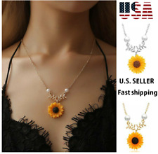 Women Fashion Sunflower Pearl Chain Pendant Necklace Earrings Jewelry Gift US