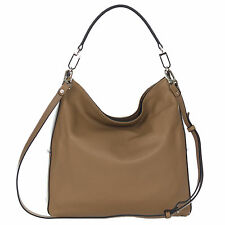 Gianni Chiarini Italian Made Natural Brown Pebbled Leather Hobo Shoulder Bag