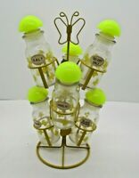 Yellow Metal Butterfly Spice Rack Holder Vintage