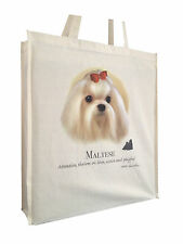 Maltese Reusable Cotton Shopping Bag with Gusset and Long Handles Perfect Gift