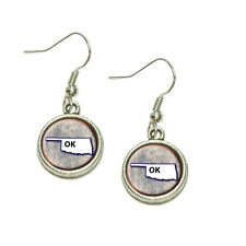 Blue Dangling Drop Charm Earrings Oklahoma Ok State Outline on Faded