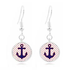 Anchor Red Polka Dots Photo Art Glass Cabochon 16mm Charm Earring Earring Hooks