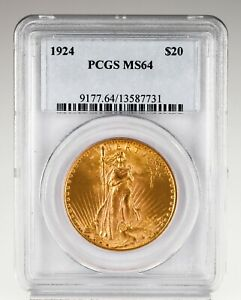 1924 $20 St. Gaudens Gold Double Eagle Coin Graded by PCGS as MS-64