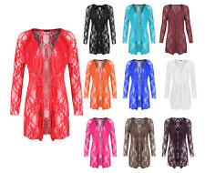 New Plus Size Women's Floral Lace Open Cardigan Ladies Long Sleeve Waterfall Top