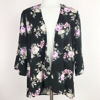 Forever21 Small Kimono Floral Black Pink