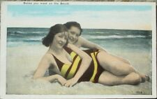 Bathing Beauty/Beauties on Beach 1920 Risque Postcard, 'Babes you meet'