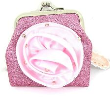 Pink Glitter Satin Crystal Diamante Detail Girls Pink Sparkle Flower Coin Purse