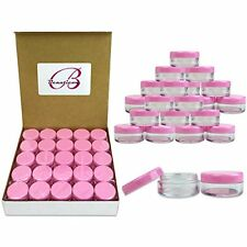 50-Piece Small Clear Reusable Plastic Cosmetic Container Jar With Pink Lid Set