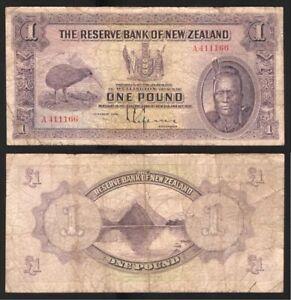 NEW ZEALAND NZ 1934 1 One Pound Note Lefeaux P. 155 Prefix A 411166