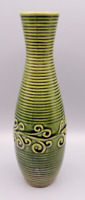 "Vintage Olive Green Glazed Art Pottery 10.5"" Tall Ceramic Hand Painted Vase"