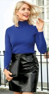 M&S Holly Willoughby A-Line Faux Leather Mini Skirt Size 10 Long BLACK