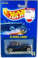Hot Wheels No. 44 '35 Classic Caddy Blue w/WW's MOC 1990 Speed Points Paper