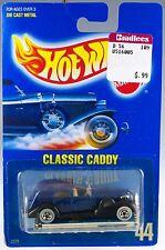 Hot Wheels No. 44 '35 Classic Caddy Blue w/WW's MOC 1990 Speed Points Paper