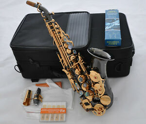Prof. Black Nickel Gold Curved Soprano Sax Saxophone Abalone Key +Case 10Pc Reed