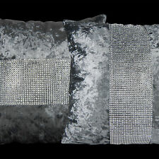 2X SHINNY BLING SILVER GREY THICK VELVET THROW PILLOW CASES CUSHION COVERS 17""