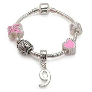 Liberty Charms Children's Pink 'Happy 9th Birthday' Charm Bead Bracelet