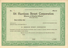 54 Harrison Street > old New York stock certificate