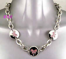 Chunky Loose Links Silver Butterfly Necklace w/ Pink Sapphire Swarovski Crystals
