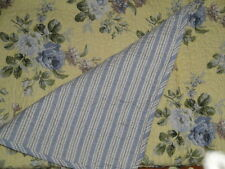 LAURA ASHLEY YELLOW BLUE FLORAL Full Queen 3pc Quilt Set COTTAGE Linley NEW