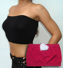 Seamless strapless bandeau tube top bra Red FREE SHIPPING TO U.S.