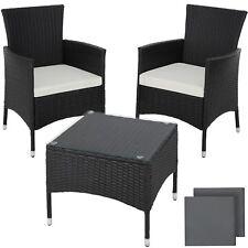 Acero Ratán Sintético Muebles Set Conjunto jardín terraza Comedor mesa negro